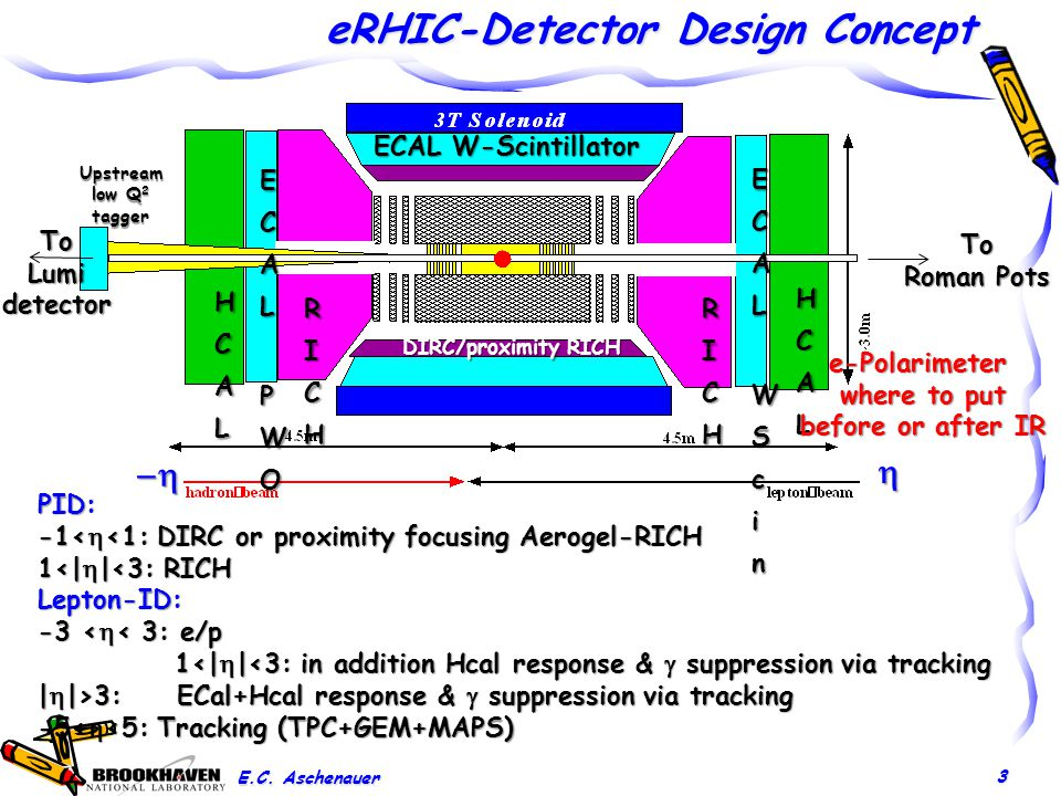 eRHIC-Detector Design Concept 3 To Roman Pots Upstream low Q 2 tagger ECAL W-Scintillator PID: -1<  <1: DIRC or proximity focusing Aerogel-RICH 1<|  |<3: RICH Lepton-ID: -3 <  < 3: e/p 1<|  |<3: in addition Hcal response &  suppression via tracking 1<|  |<3: in addition Hcal response &  suppression via tracking |  |>3: ECal+Hcal response &  suppression via tracking -5<  <5: Tracking (TPC+GEM+MAPS) DIRC/proximity RICH   E.C.