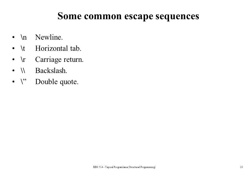 BBS 514 - Yapısal Programlama (Structured Programming)20 Some common escape sequences \n Newline. \t Horizontal tab. \r Carriage return. \\ Backslash.