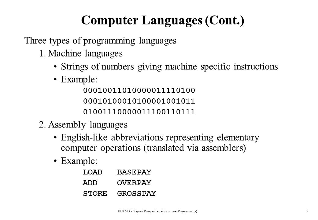 BBS 514 - Yapısal Programlama (Structured Programming)14 A Simple C Program: Printing a Line of Text Comments –Text surrounded by /* and */ is ignored by computer –Used to describe program #include –Preprocessor directive Tells computer to load contents of a certain file – allows standard input/output operations