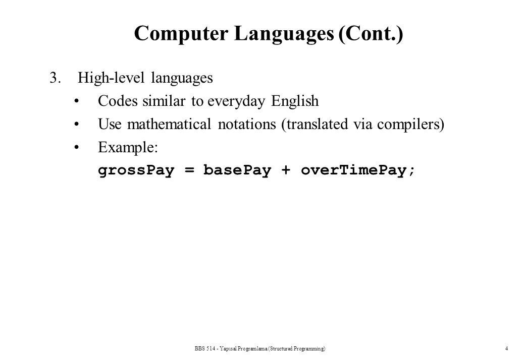 BBS 514 - Yapısal Programlama (Structured Programming)4 Computer Languages (Cont.) 3.High-level languages Codes similar to everyday English Use mathem