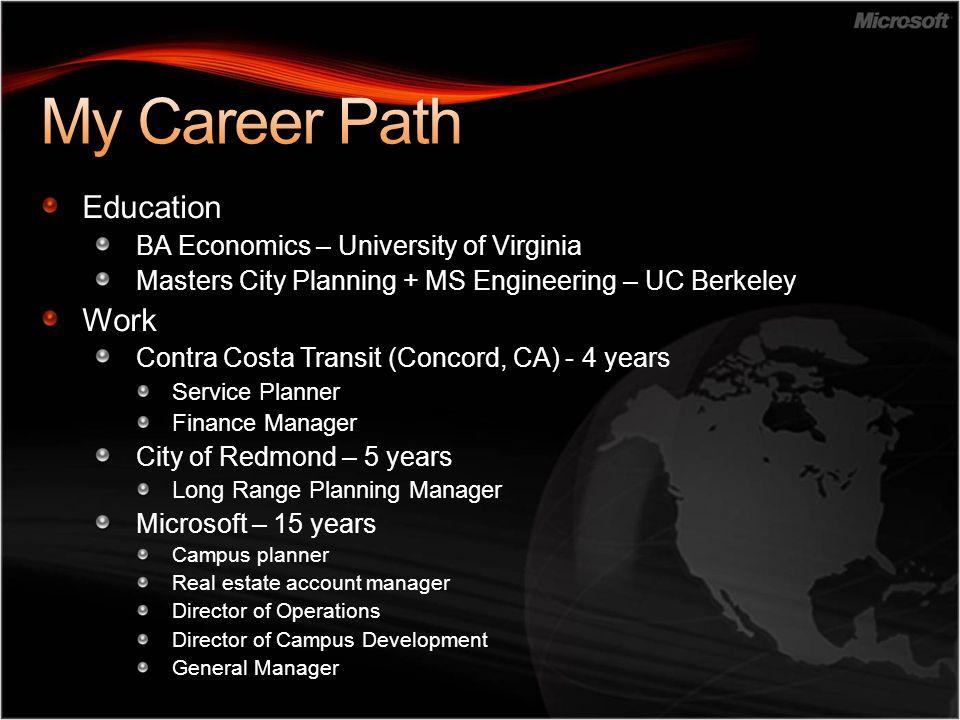 Education BA Economics – University of Virginia Masters City Planning + MS Engineering – UC Berkeley Work Contra Costa Transit (Concord, CA) - 4 years