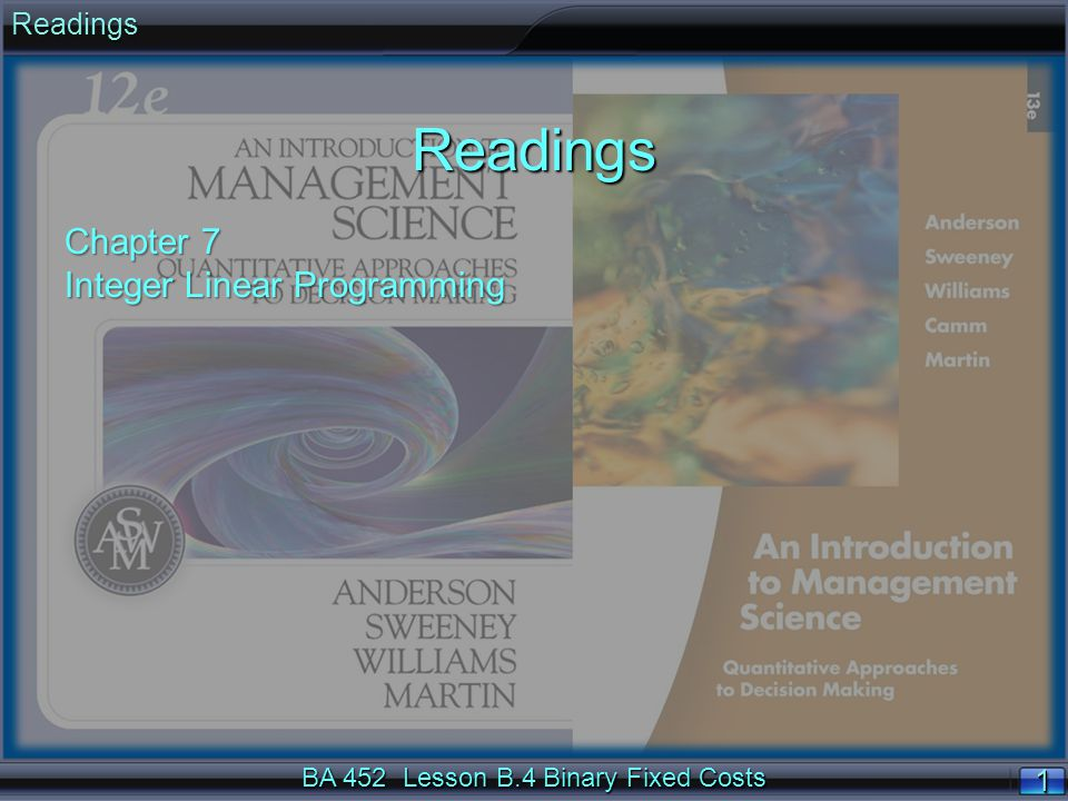 BA 452 Lesson B.4 Binary Fixed Costs 11ReadingsReadings Chapter 7 Integer Linear Programming