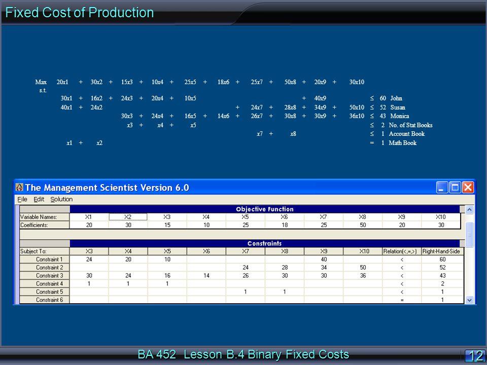 BA 452 Lesson B.4 Binary Fixed Costs 1212 Max 20x1+30x2+15x3+10x4+25x5+18x6+25x7+50x8+20x9+30x10 s.t.