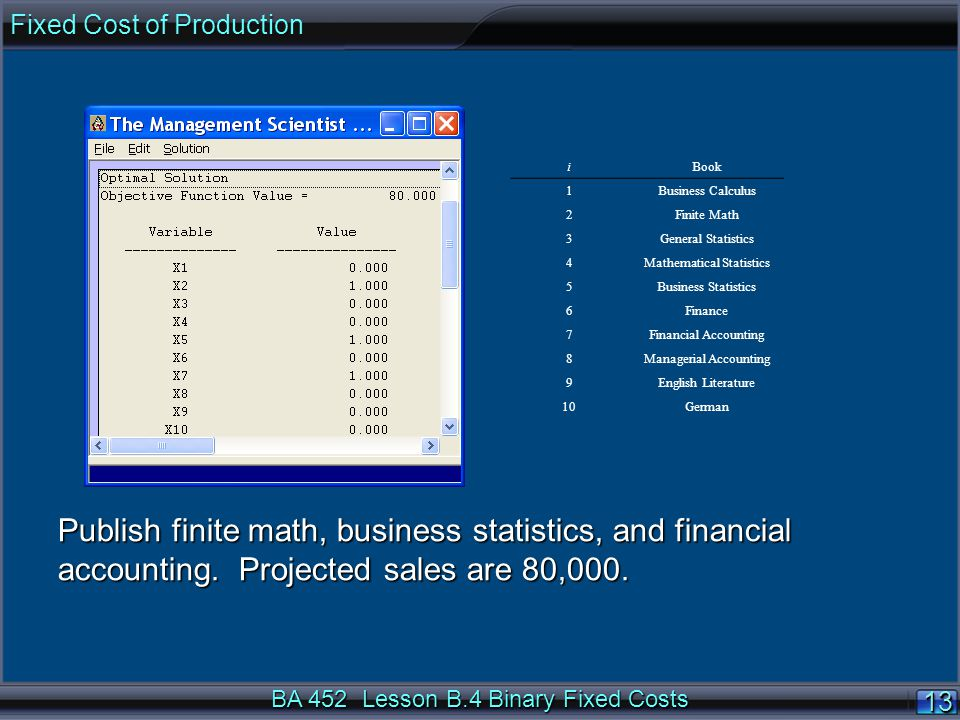 BA 452 Lesson B.4 Binary Fixed Costs 1313 Publish finite math, business statistics, and financial accounting.