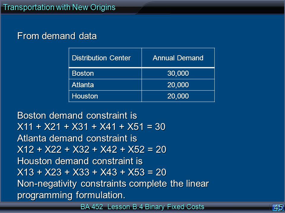 BA 452 Lesson B.4 Binary Fixed Costs 4545 From demand data Boston demand constraint is X11 + X21 + X31 + X41 + X51 = 30 Atlanta demand constraint is X12 + X22 + X32 + X42 + X52 = 20 Houston demand constraint is X13 + X23 + X33 + X43 + X53 = 20 Non-negativity constraints complete the linear programming formulation.