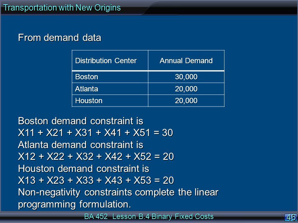 BA 452 Lesson B.4 Binary Fixed Costs 4646 From demand data Boston demand constraint is X11 + X21 + X31 + X41 + X51 = 30 Atlanta demand constraint is X12 + X22 + X32 + X42 + X52 = 20 Houston demand constraint is X13 + X23 + X33 + X43 + X53 = 20 Non-negativity constraints complete the linear programming formulation.