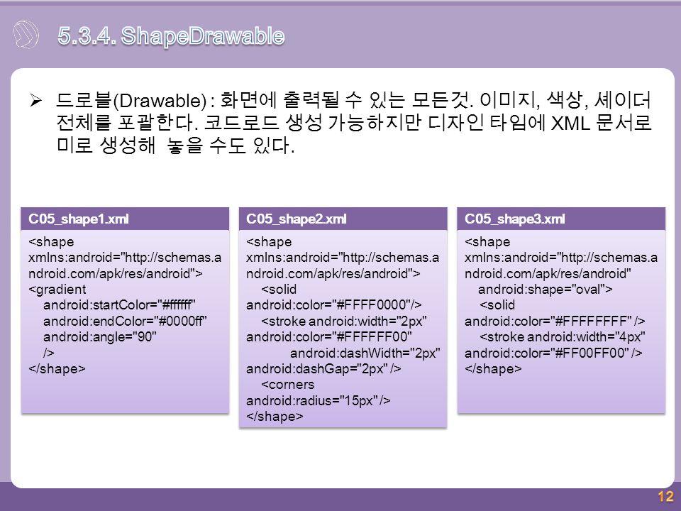 12  드로블 (Drawable) : 화면에 출력될 수 있는 모든것. 이미지, 색상, 셰이더 전체를 포괄한다. 코드로드 생성 가능하지만 디자인 타임에 XML 문서로 미로 생성해 놓을 수도 있다.
