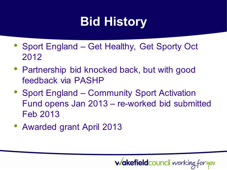 Bid History Sport England – Get Healthy, Get Sporty Oct 2012 Partnership bid knocked back, but with good feedback via PASHP Sport England – Community