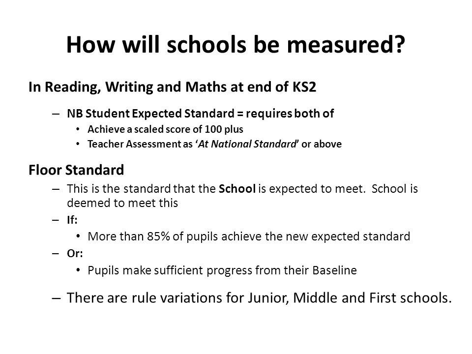How will schools be measured? In Reading, Writing and Maths at end of KS2 – NB Student Expected Standard = requires both of Achieve a scaled score of