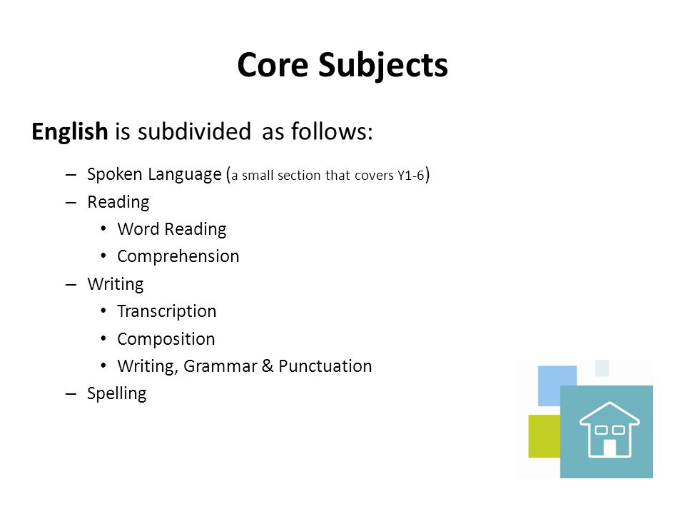 Core Subjects English is subdivided as follows: – Spoken Language ( a small section that covers Y1-6 ) – Reading Word Reading Comprehension – Writing