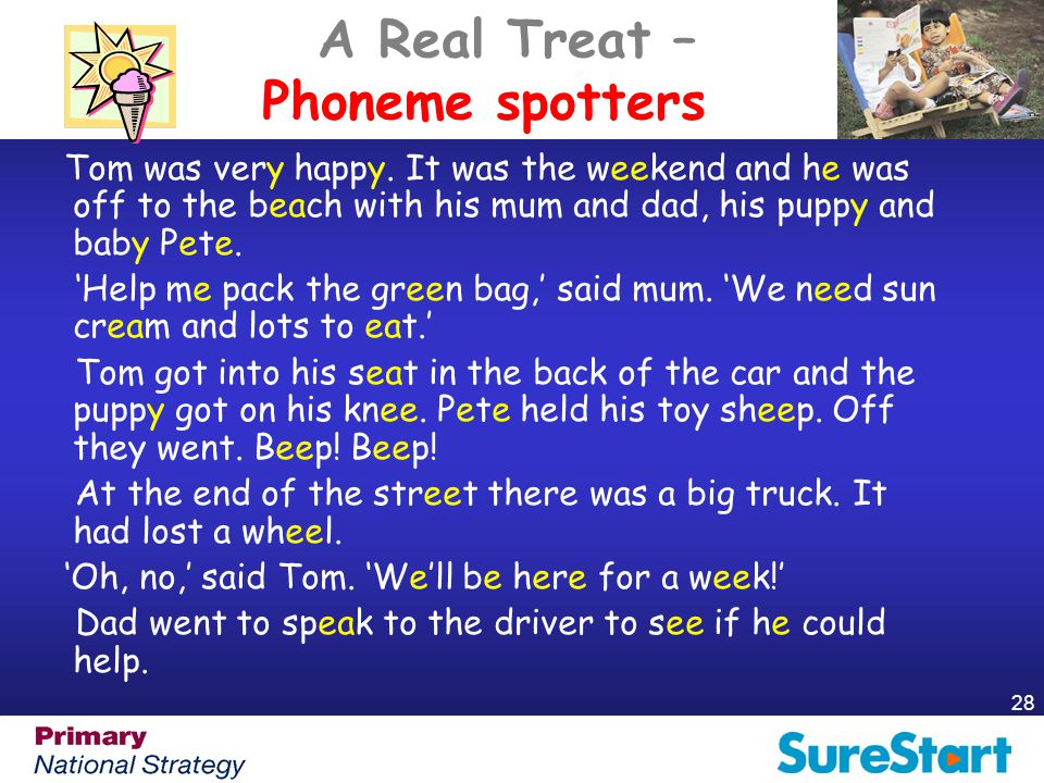 28 A Real Treat – Phoneme spotters Tom was very happy. It was the weekend and he was off to the beach with his mum and dad, his puppy and baby Pete. '