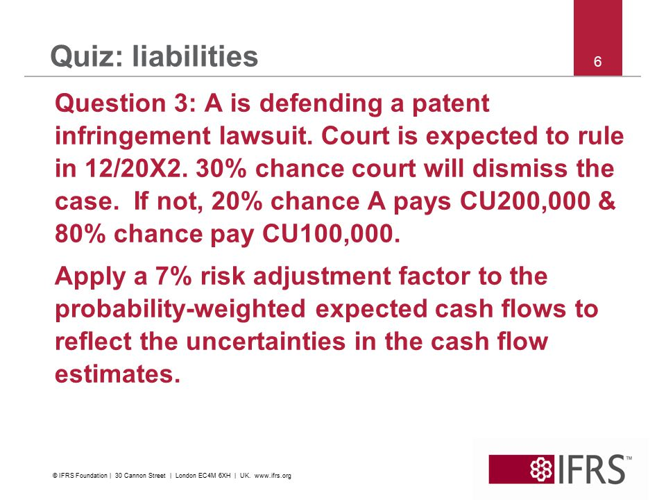6 Quiz: liabilities Question 3: A is defending a patent infringement lawsuit.