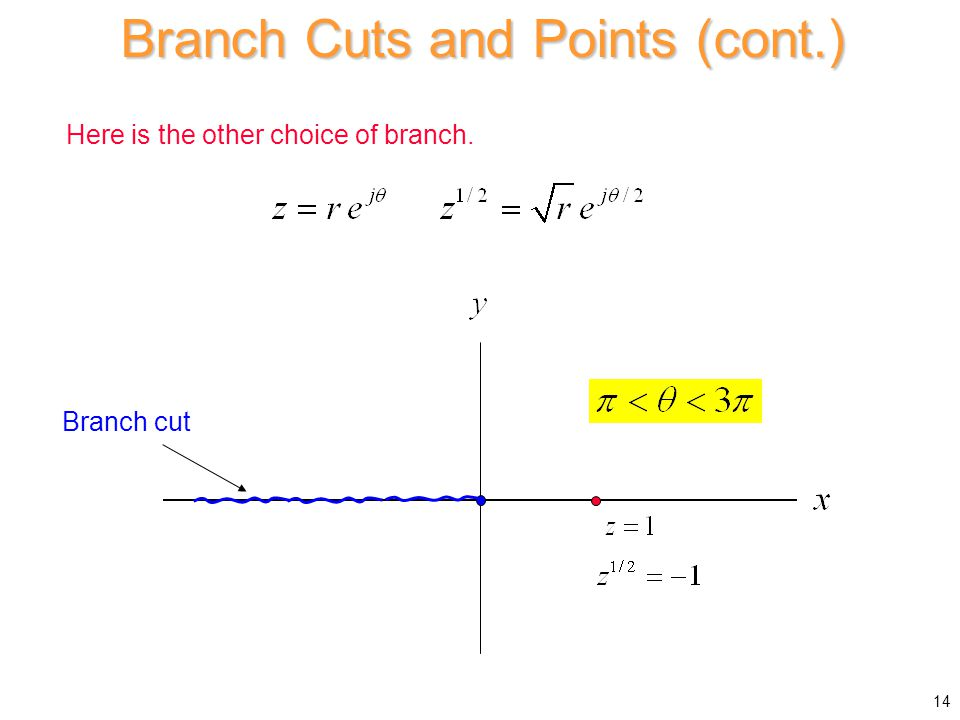 Here is the other choice of branch. Branch cut Branch Cuts and Points (cont.) 14