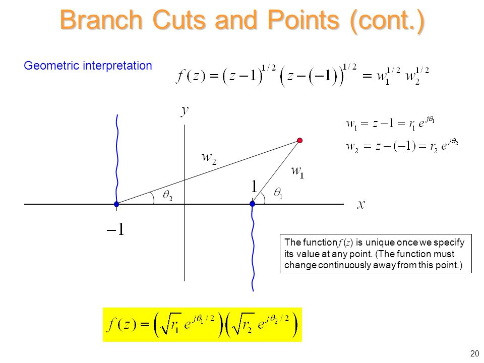Branch Cuts and Points (cont.) Geometric interpretation The function f ( z ) is unique once we specify its value at any point. (The function must chan