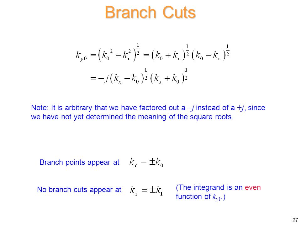 Branch Cuts Branch points appear at No branch cuts appear at (The integrand is an even function of k y1.) Note: It is arbitrary that we have factored