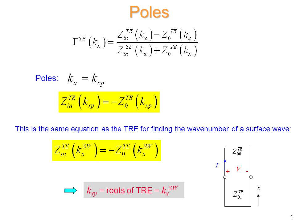 Poles Poles: This is the same equation as the TRE for finding the wavenumber of a surface wave: k xp = roots of TRE = k x SW 4 + -