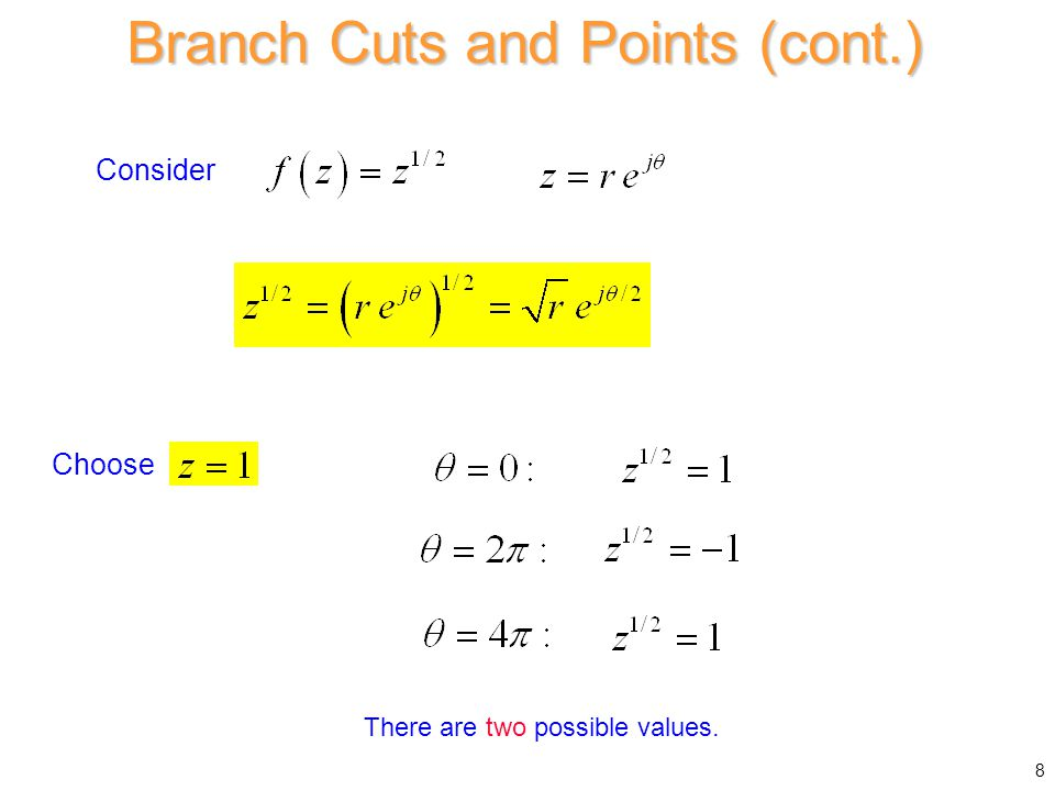 Consider There are two possible values. Choose Branch Cuts and Points (cont.) 8
