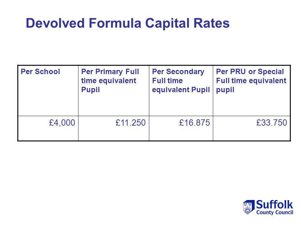 Per SchoolPer Primary Full time equivalent Pupil Per Secondary Full time equivalent Pupil Per PRU or Special Full time equivalent pupil £4,000£11.250£16.875£33.750 Devolved Formula Capital Rates