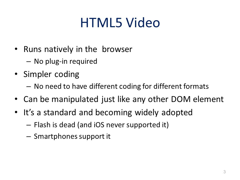 <video width= 320 height= 240 controls poster= mallard.jpg autoplay> Your browser does not support the video tag.