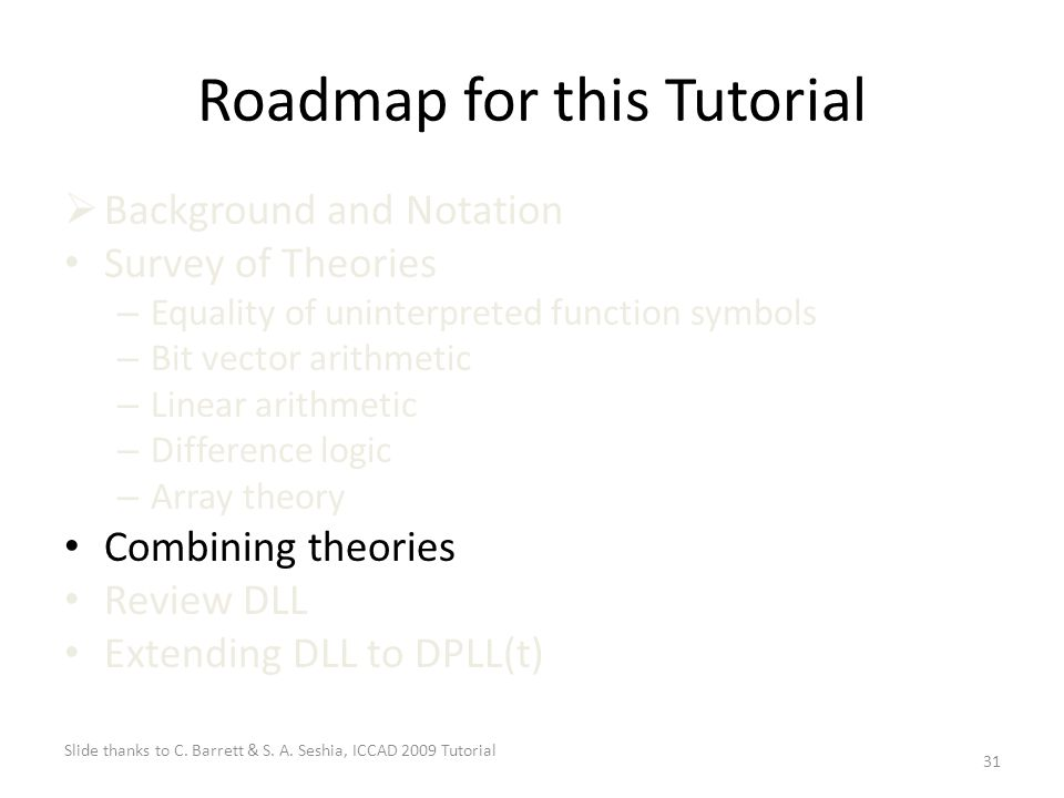 31 Roadmap for this Tutorial  Background and Notation Survey of Theories – Equality of uninterpreted function symbols – Bit vector arithmetic – Linear arithmetic – Difference logic – Array theory Combining theories Review DLL Extending DLL to DPLL(t) Slide thanks to C.