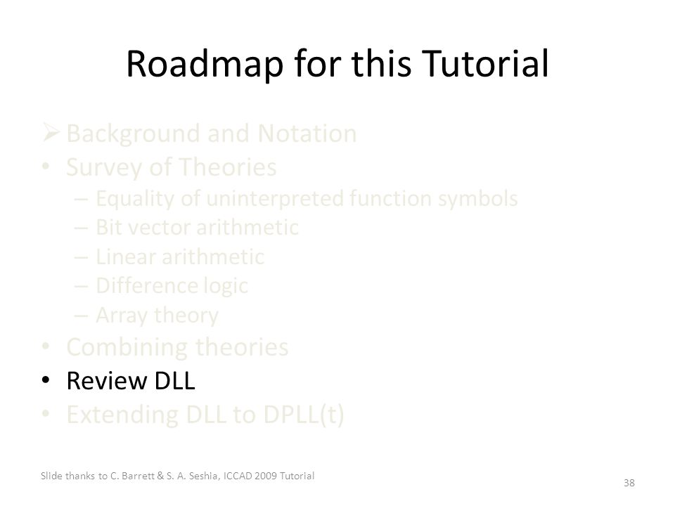 38 Roadmap for this Tutorial  Background and Notation Survey of Theories – Equality of uninterpreted function symbols – Bit vector arithmetic – Linear arithmetic – Difference logic – Array theory Combining theories Review DLL Extending DLL to DPLL(t) Slide thanks to C.