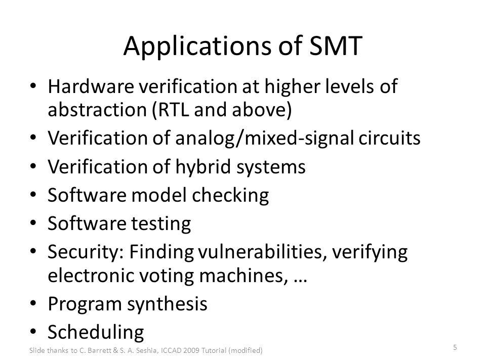 6 References Satisfiability Modulo Theories Clark Barrett, Roberto Sebastiani, Sanjit A.