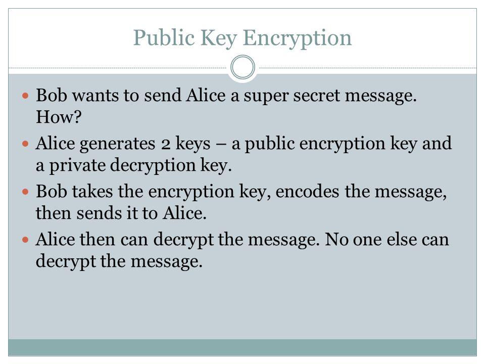 Public Key Encryption Bob wants to send Alice a super secret message.