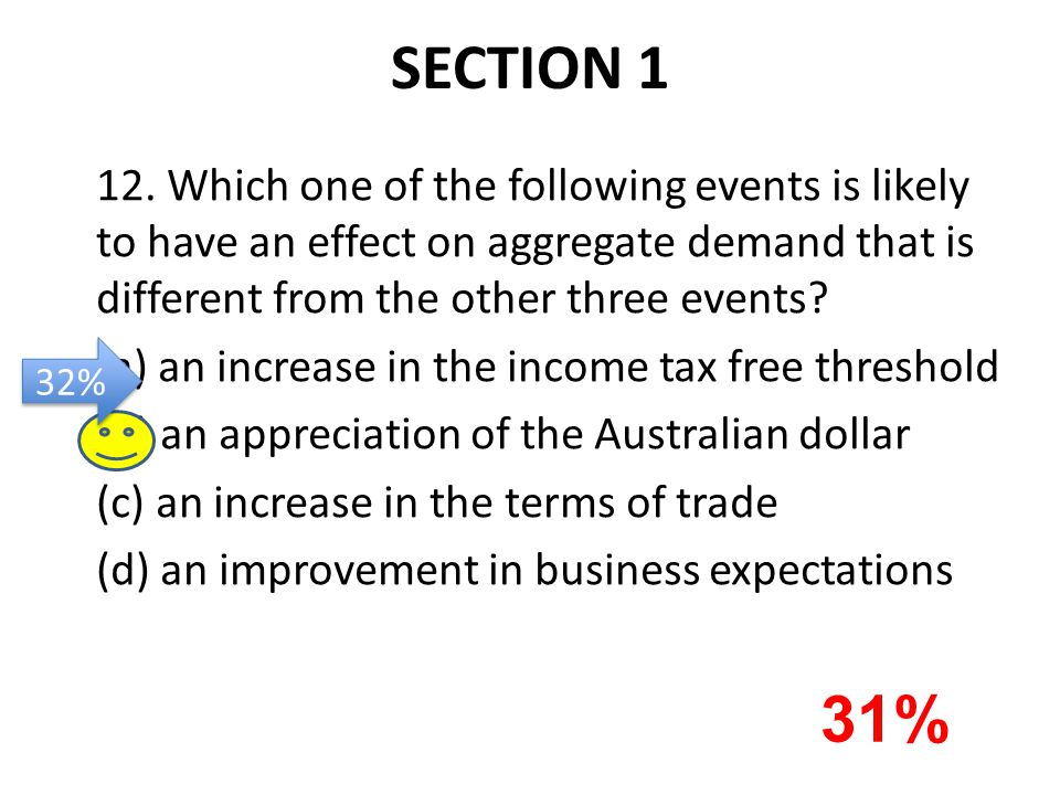 SECTION 1 12. Which one of the following events is likely to have an effect on aggregate demand that is different from the other three events? (a) an