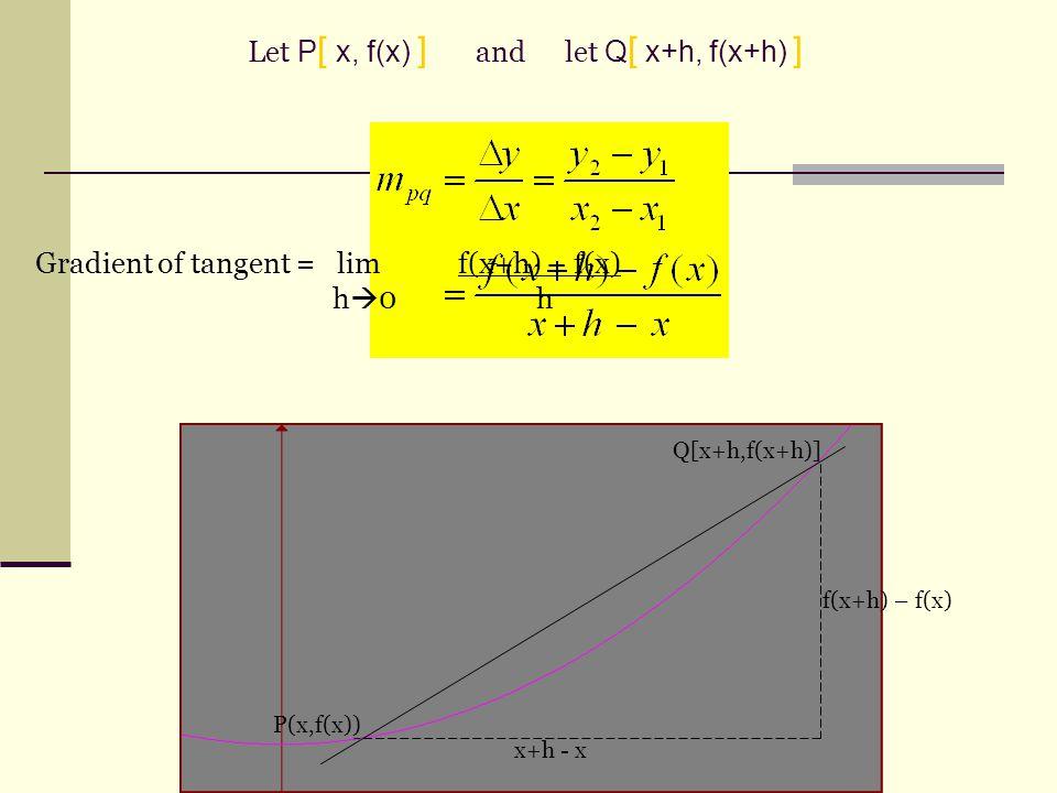 P(x,f(x)) Q[x+h,f(x+h)] f(x+h) – f(x) x+h - x Gradient of tangent = lim f(x+h) – f(x) h  0 h Let P [ x, f(x) ] and let Q [ x+h, f(x+h) ]
