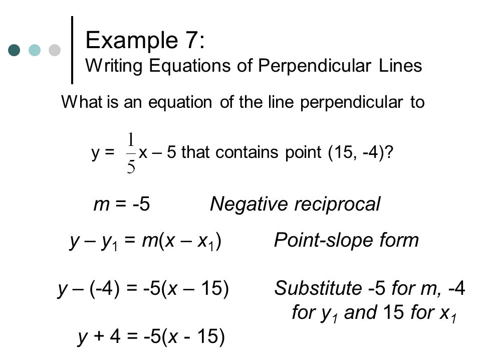 Example 7: Writing Equations of Perpendicular Lines What is an equation of the line perpendicular to y = x – 5 that contains point (15, -4)? m = -5 y