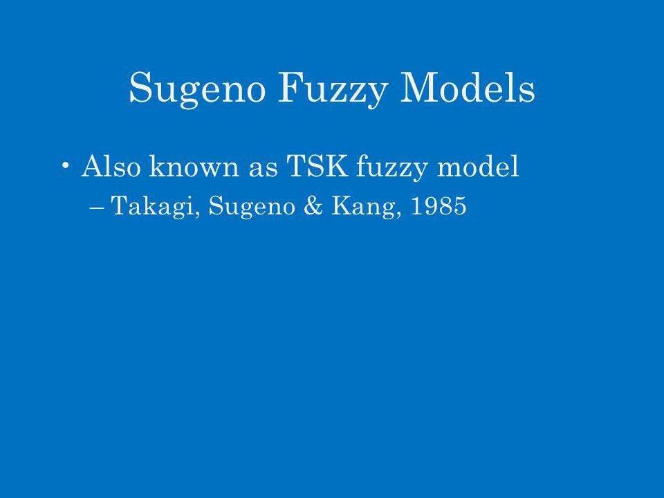 Sugeno Fuzzy Models Also known as TSK fuzzy model –Takagi, Sugeno & Kang, 1985