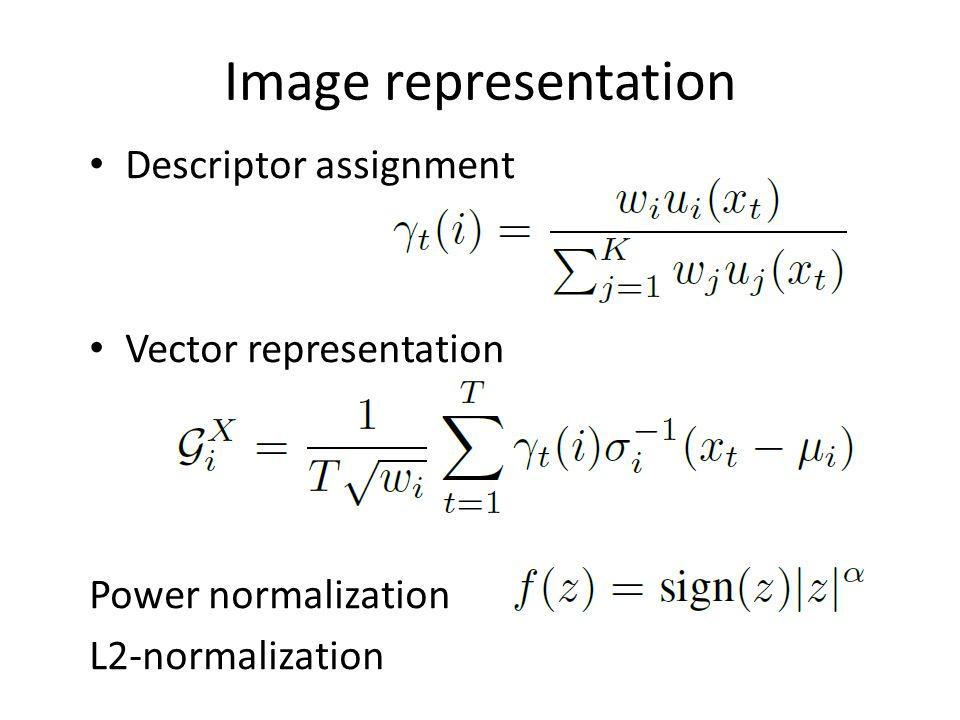 Image representation Descriptor assignment Vector representation Power normalization L2-normalization