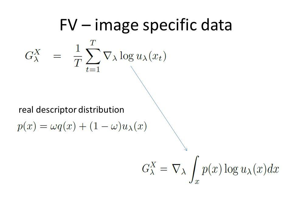 FV – image specific data real descriptor distribution