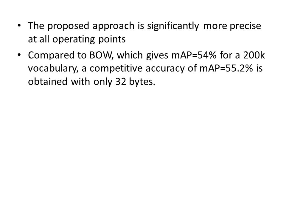 The proposed approach is significantly more precise at all operating points Compared to BOW, which gives mAP=54% for a 200k vocabulary, a competitive