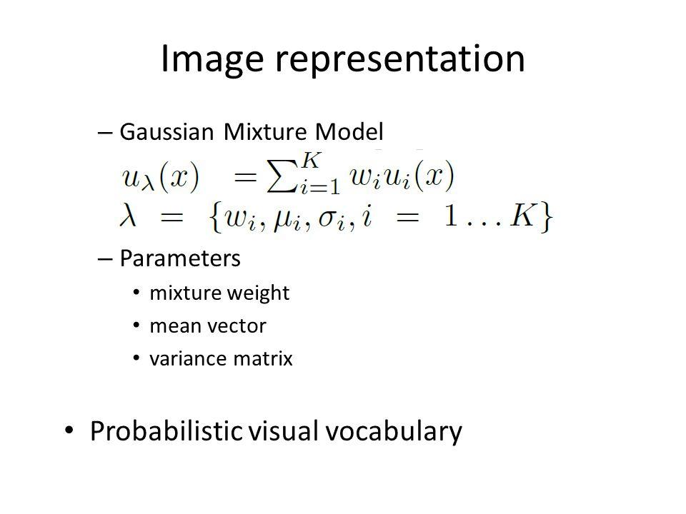 Image representation – Gaussian Mixture Model – Parameters mixture weight mean vector variance matrix Probabilistic visual vocabulary