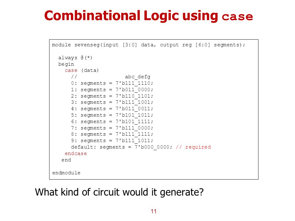 Combinational Logic using case 11 module sevenseg(input [3:0] data, output reg [6:0] segments); always @(*) begin case (data) // abc_defg 0: segments