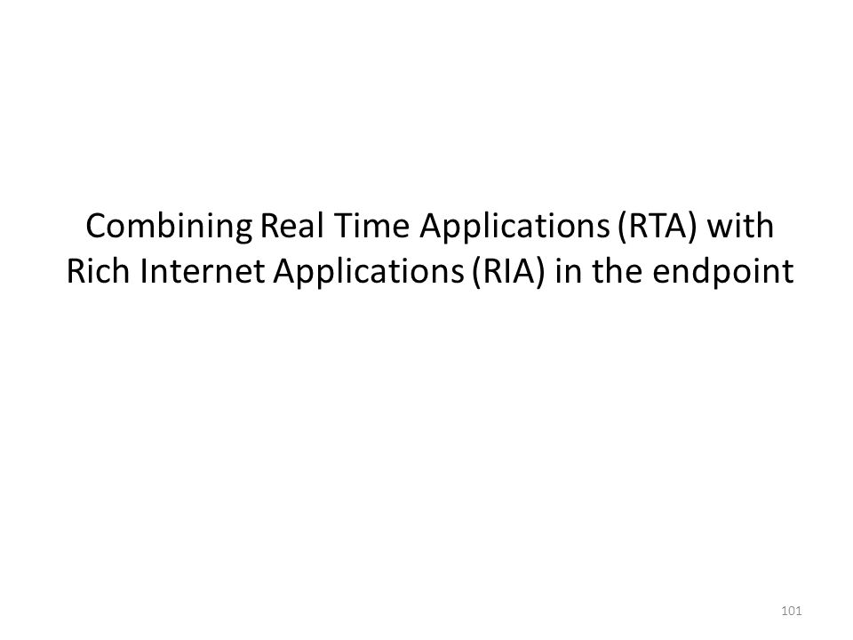 101 Combining Real Time Applications (RTA) with Rich Internet Applications (RIA) in the endpoint