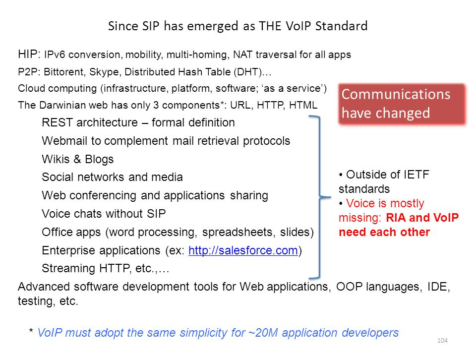 Since SIP has emerged as THE VoIP Standard HIP: IPv6 conversion, mobility, multi-homing, NAT traversal for all apps P2P: Bittorent, Skype, Distributed Hash Table (DHT)… Cloud computing (infrastructure, platform, software; 'as a service') The Darwinian web has only 3 components*: URL, HTTP, HTML REST architecture – formal definition Webmail to complement mail retrieval protocols Wikis & Blogs Social networks and media Web conferencing and applications sharing Voice chats without SIP Office apps (word processing, spreadsheets, slides) Enterprise applications (ex: http://salesforce.com)http://salesforce.com Streaming HTTP, etc.,… Advanced software development tools for Web applications, OOP languages, IDE, testing, etc.