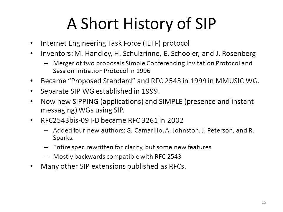 A Short History of SIP Internet Engineering Task Force (IETF) protocol Inventors: M. Handley, H. Schulzrinne, E. Schooler, and J. Rosenberg – Merger o