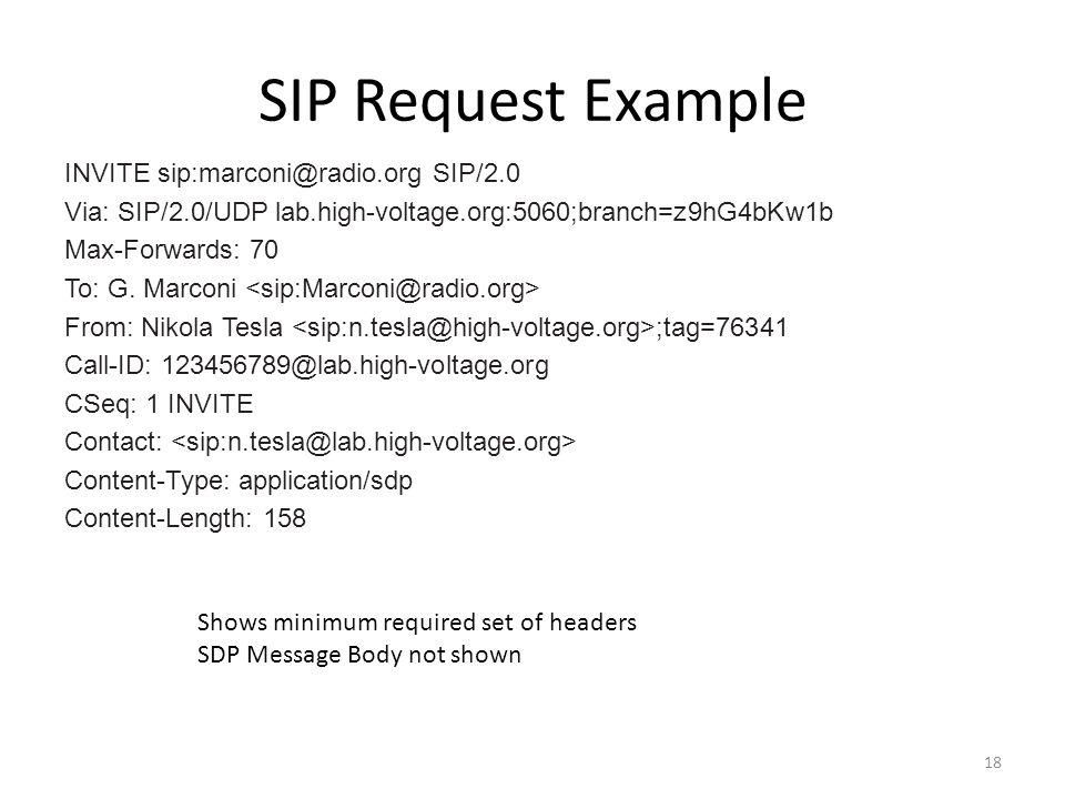 SIP Request Example INVITE sip:marconi@radio.org SIP/2.0 Via: SIP/2.0/UDP lab.high-voltage.org:5060;branch=z9hG4bKw1b Max-Forwards: 70 To: G. Marconi