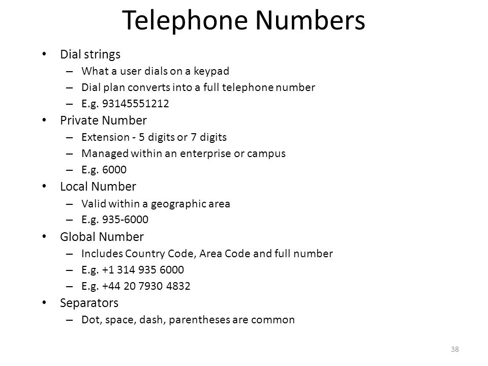 Telephone Numbers Dial strings – What a user dials on a keypad – Dial plan converts into a full telephone number – E.g.