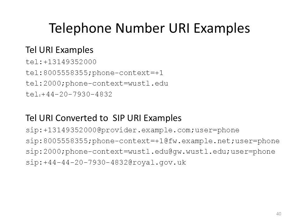 Telephone Number URI Examples Tel URI Examples tel:+13149352000 tel:8005558355;phone-context=+1 tel:2000;phone-context=wustl.edu tel : +44-20-7930-4832 Tel URI Converted to SIP URI Examples sip:+13149352000@provider.example.com;user=phone sip:8005558355;phone-context=+1@fw.example.net;user=phone sip:2000;phone-context=wustl.edu@gw.wustl.edu;user=phone sip:+44-44-20-7930-4832@royal.gov.uk 40