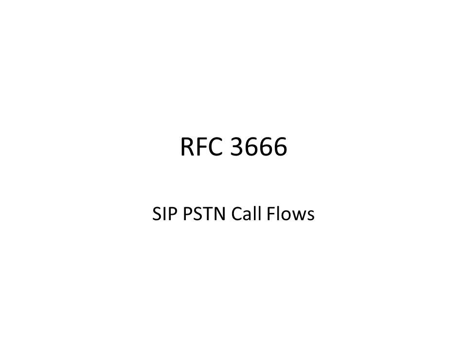 RFC 3666 SIP PSTN Call Flows