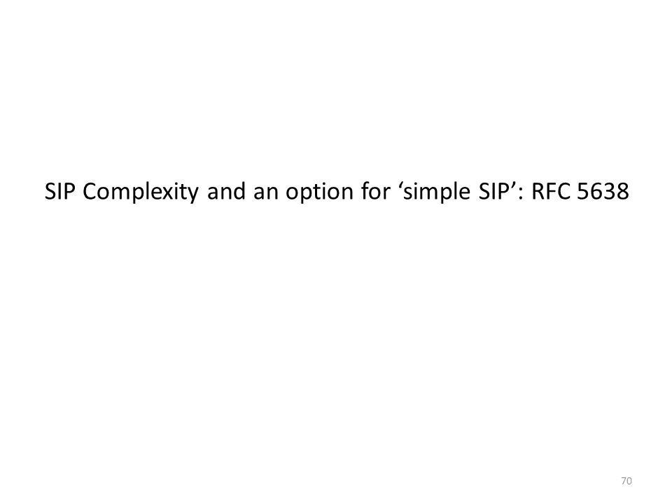 70 SIP Complexity and an option for 'simple SIP': RFC 5638
