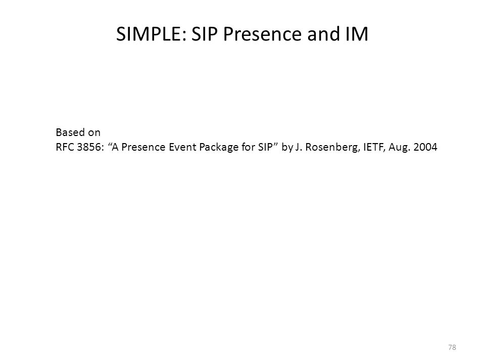 SIMPLE: SIP Presence and IM 78 Based on RFC 3856: A Presence Event Package for SIP by J.