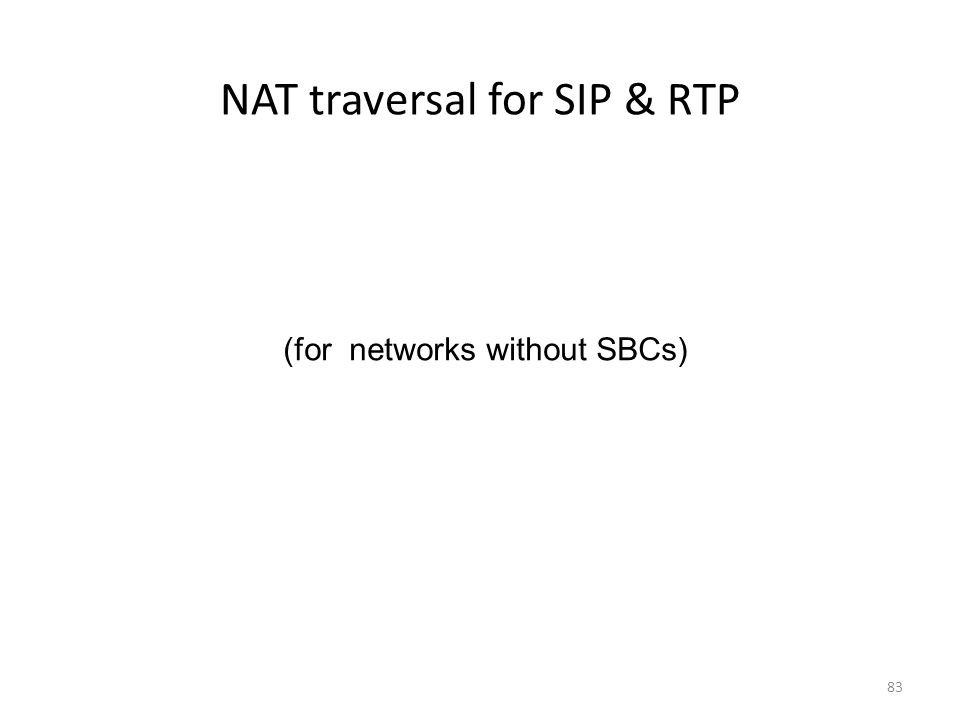 NAT traversal for SIP & RTP 83 (for networks without SBCs)