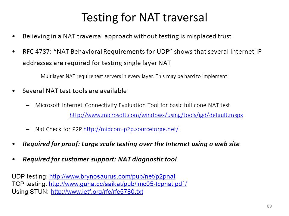 """Testing for NAT traversal 89 Believing in a NAT traversal approach without testing is misplaced trust RFC 4787: """"NAT Behavioral Requirements for UDP"""""""