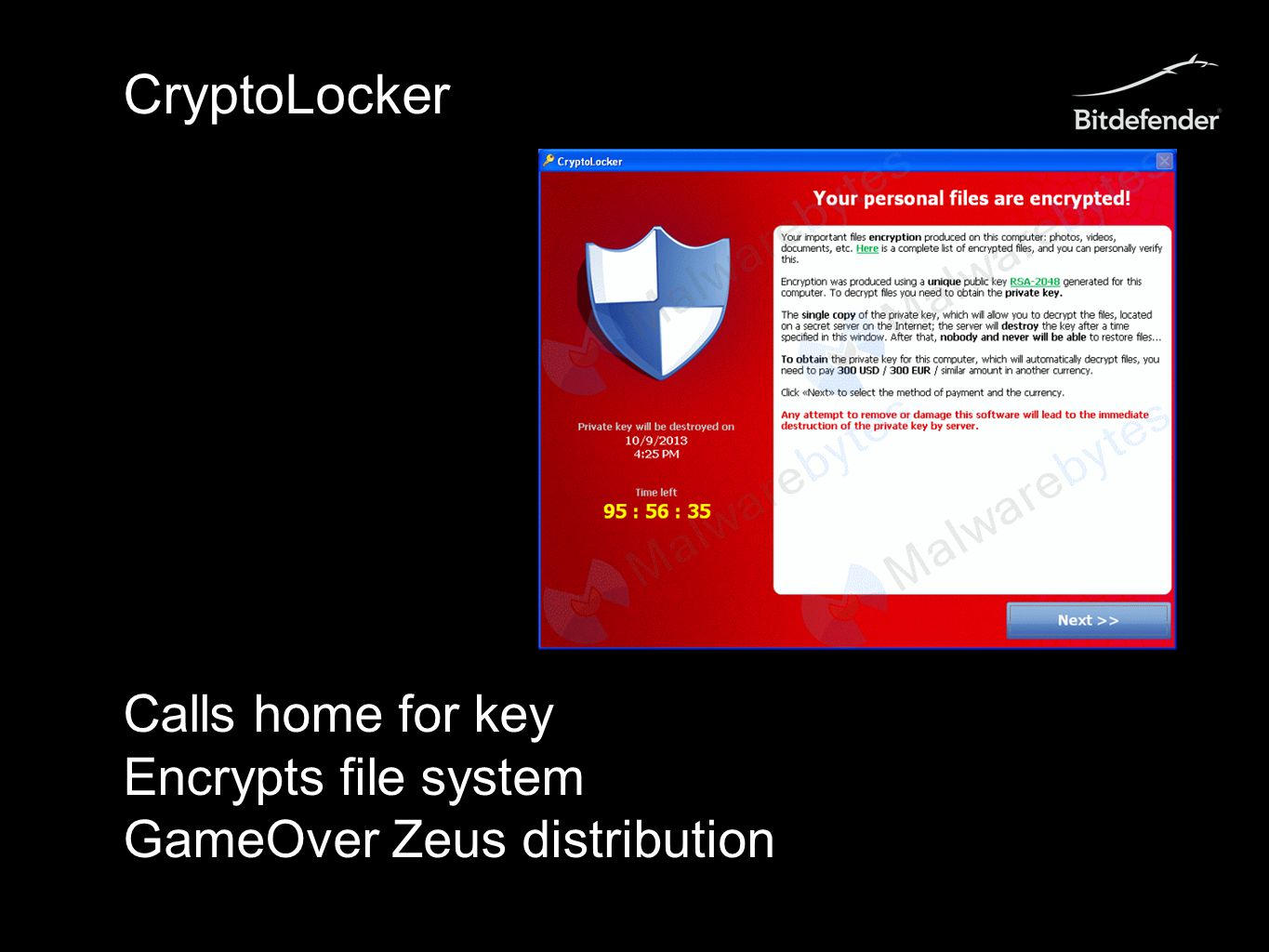 CryptoLocker Calls home for key Encrypts file system GameOver Zeus distribution