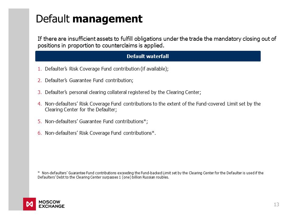 1.Defaulter's Risk Coverage Fund contribution (if available); 2.Defaulter's Guarantee Fund contribution; 3.Defaulter's personal clearing collateral re
