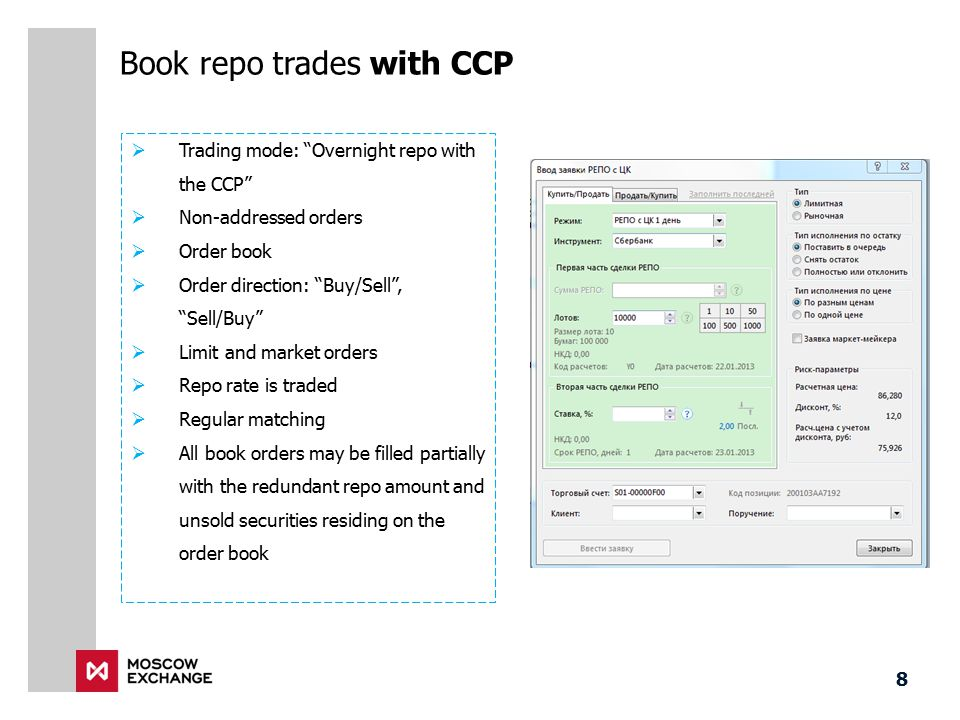 "Book repo trades with CCP  Trading mode: ""Overnight repo with the CCP""  Non-addressed orders  Order book  Order direction: ""Buy/Sell"", ""Sell/Buy"""